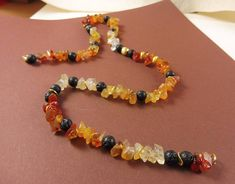 Amber and Lava Rock Necklace  Earthen Glow