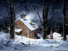 winter cabin in the woods painting - Google Search