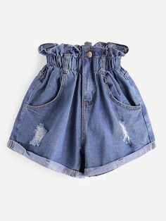 Shop Shirred Frill Trim Ripped Rolled Hem Denim Shorts at ROMWE, discover more fashion styles online. High Waisted Ripped Shorts, Ripped Denim Skirts, Distressed High Waisted Shorts, Ripped Jean Shorts, Jeans Denim, Waisted Denim, Distressed Denim, Jeans Pants, Yoga Pants