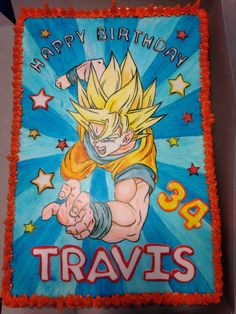 Dragon Ball Z cake. 1/2 sheet with fondant top, hand painted with gel food colors
