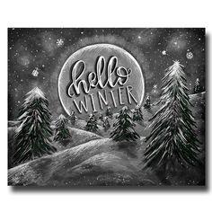 Winter Print Forest Art Hello Winter Chalkboard Art Winter Art Chalk Art Typography Calligraphy Winter Scene Forest Print Chalk Board & Prints & Such Chalkboard Drawings, Chalkboard Print, Chalkboard Lettering, Chalkboard Designs, Chalk Drawings, Hallo Winter, Christmas Chalkboard Art, Barn Wood Frames, Forest Art