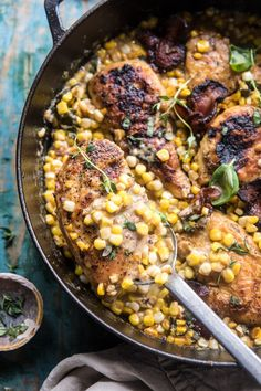 Garlic Butter Creamed Corn Chicken Use chicken broth instead of wine Gourmet Recipes, Cooking Recipes, Healthy Recipes, Spinach Recipes, Potato Recipes, Bread Recipes, Cod Recipes, Cooking Rice, Chickpea Recipes