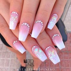 79 - The Most Beautiful Beauty designs in 2020 - the year 2020 trent nails, hair, makeup, tattoos, c Acrylic Nail Designs Glitter, Nail Designs Bling, Bling Acrylic Nails, Nails Design With Rhinestones, Best Acrylic Nails, Bling Nails, Fancy Nails, Cute Nails, Long Square Acrylic Nails