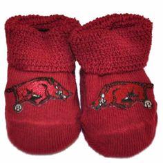 Arkansas Razorbacks Two Feet Ahead Infant Baby Newborn Crimson Socks Booties