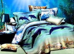 Adorable #Dolphins Starfish Print Cotton 4-Piece Duvet Cover Sets #bedding #bedroom #3d