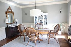 grey dining room with board and batten (but paint the table a different color)