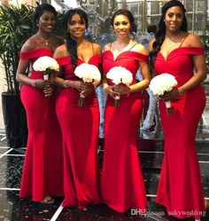 741f3a85 2019 Modest African Satin Mermaid Long Plus Size Bridesmaid Dresses Off The  Shoulder Ruched Wedding Guest