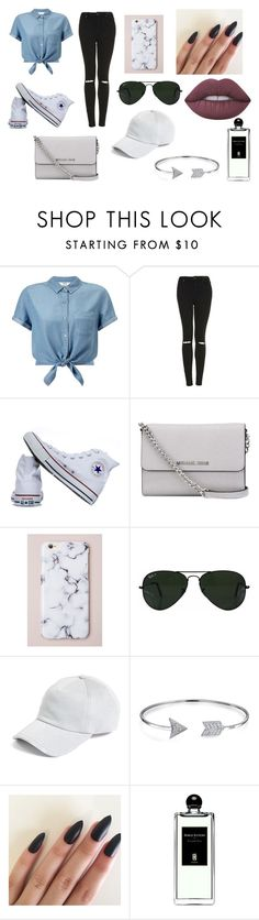 """""""day out"""" by emily-rotondo ❤ liked on Polyvore featuring Miss Selfridge, Topshop, Converse, MICHAEL Michael Kors, Ray-Ban, rag & bone, Bling Jewelry, Serge Lutens and Lime Crime"""