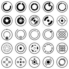 Illustration of Futuristic icons of Set of info graphic elements and symbols for user interface vector art, clipart and stock vectors. Computer Chip, Symbol Tattoos, Banner Printing, Facebook Image, Cool Posters, Glyphs, User Interface, Futuristic, Vector Art
