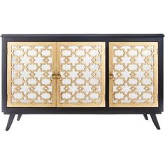 Channel Old Hollywood glamour with this striking sideboard, featuring a trellis pattern and a black and gold finish. Product: