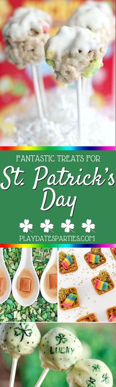Are you a rainbow person or a shamrock person? Either way, you're going to love these 15 St. Patrick's Day treats for the whole family. Click through to see them all at playdatesparties.com. #StPatricksDay #rainbow #shamrock #StPatty