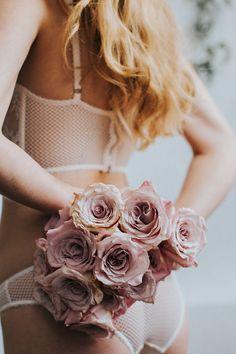 rose bouquet - photo by Hazelwood Photo http://ruffledblog.com/vintage-romance-inspired-boudoir-shoot