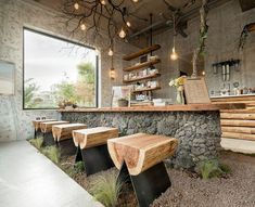 Cafe that Resembles Jeju Island,© Hong Seokgyu Outdoor Design inspiration Gallery of Cafe that Resembles Jeju Island / STARSIS - 5 Cafe Seating, Restaurant Seating, Outdoor Seating, Outdoor Restaurant, Outdoor Cafe, Outdoor Kitchen Bars, Rustic Outdoor Kitchens, Restaurant Layout, Rustic Outdoor Furniture