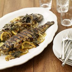 Grilled Trout Stuffed with Lemon and Oregano Recipe | Weight Watchers