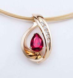 14k yellow gold ruby pendant - Chatham lab grown ruby necklace - diamonds - July birthstone - red - gemstone jewelry - fine jewelry - 3414