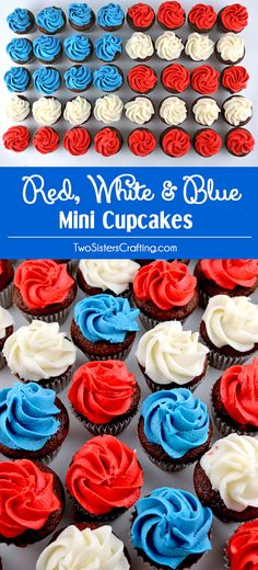 These fun and patriotic Red White and Blue Mini Cupcakes will be everyone's favorite 4th of July Treats.  These 4th of July cupcakes are so easy to make, taste delicious and are topped with yummy homemade Buttercream Frosting.  They would be great at a 4th of July Party, a Memorial Day barbecue or an Olympics viewing party. Pin this delicious 4th of July dessert for later and follow us for more great 4th of July Food Ideas.