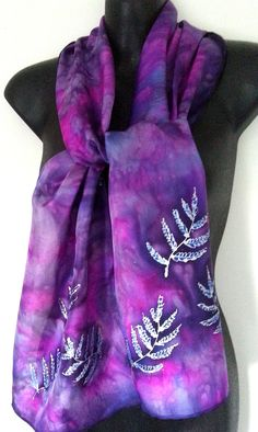 Fern Botanical Leaves Silk Scarf, New Zealand Silver Ferns, Hand Painted Silk, Electric Pink and Purple, Shiny metallic silver Ferns, Gift by KiwiSilks on Etsy Silver Fern, Painted Silk, Hand Painted, Online Gifts, Silk Scarves, How To Feel Beautiful, Ferns, Purple, Pink