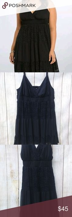 NWOT Torrid Plus Size 4 4X Black Lace Dress NWOT Torrid Plus Size 4 4X Black Chiffon Lace Spaghetti Strap Sundress Dress Smocked Back Surplice Lace Front  If you have any questions, please don't hesitate to send me a message. Please feel free to check out the other items listed in my store torrid Dresses