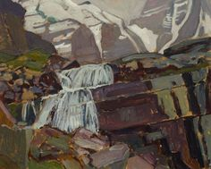 J.E.H. MacDonald (1873-1932), Canadian / Waterfall near Lake O'Hara, 1929 [Victoria Falls on the trail from Lake O'Hara up to Lake Oesa]
