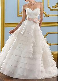Glamorous  Organza Satin A-line Sweetheart Neckline Wedding Dress  With Handmade Flower
