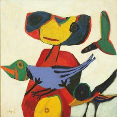 Karel Appel – Child with Birds, 1950 Tachisme, Abstract Painting Techniques, Abstract Art, Zurich, Cobra Art, Cubism Art, Tinta China, Funky Art, Whimsical Art