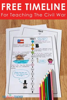 This FREE Civil War timeline makes a fun addition to any Civ History Interactive Notebook, Social Studies Notebook, Social Studies Classroom, Social Studies Activities, History Classroom, Teaching Social Studies, Interactive Notebooks, Interactive Activities, Civil War Activities