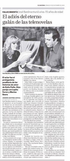 El actor José Bardina murió a los 70 años de edad. Publicado en El Nacional el 19 de diciembre de 2009