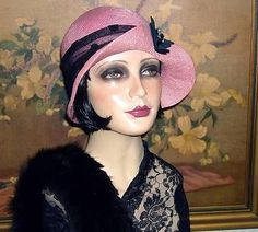 Pink w/ Bakelite~CLOCHE COUTURE~Roaring 20s Gatsby VTG Flair Flapper Hat ~Berti Borrell Couture Hats~