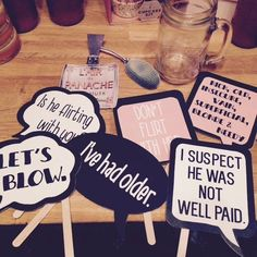 "DIY props for our wedding party.  words from the movie ""The Grand Budapest Hotel"""