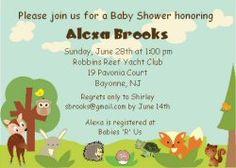 Woodland Animals Baby Shower Invitations