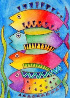 ideas animal art projects for kids teachers Laurel Burch, Projects For Kids, Art Projects, Wal Art, Atelier D Art, Fish Art, Silk Painting, Painting Art, Whimsical Art