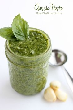 Fresh basil, toasted pine nuts, shredded parmesan cheese, fresh garlic cloves, pure olive oil, and sea salt come together to create this Classic Pesto that can be used on pasta, sandwiches, or in soups!