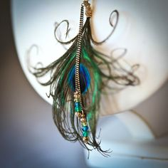 Want this Peacock Feather Mixed Media South Western Style Long Necklace as earrings