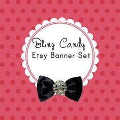 Polka dot etsy banner set premade etsy shop by designandplay, $10.00