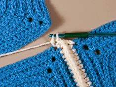 Instructions on how to join two granny stitch squares using the double crochet join.