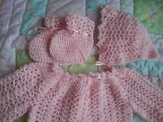 Baby sweater crocheted baby sweater sparkly pink baby sweater newborn vintage baby set new baby pink baby set hat shoes baby cardigan dress