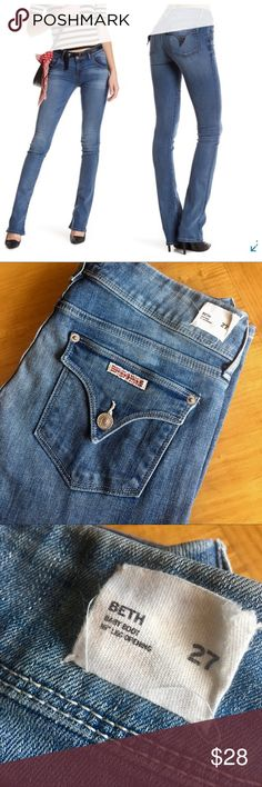 Hudson Beth Baby Boot Long and leggy is how you will look!  Very soft stretch jean you will live in.  In excellent used condition.  One tiny very light spot by rear pocket as shown in photos.   Lighter wash that's great year around. Hudson Jeans Jeans Boot Cut