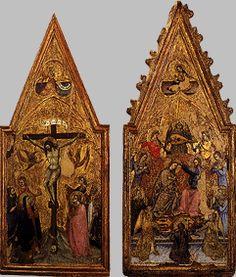 Cola Petruccioli - Crocifissione e Incoronazione della Vergine (dittico) - Pinacoteca Civica di Spello,  Umbria, Italia