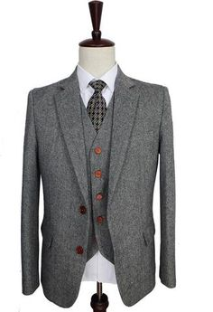 3-Piece Suit Classic Tweed Suit Retro Gentleman Style Mens Suit Grey-Suit-LeStyleParfait.Com
