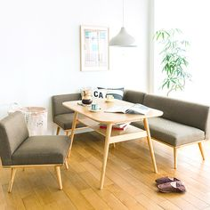 ソファーダイニング4点セット PURI|家具・インテリア通販 Re:CENO【リセノ】 Sunroom Dining, Dining Sofa, Japanese Dining Table, Modern Dining Table, Japanese Furniture, Danish Furniture, Condo Living, Home Living Room, Muji Home