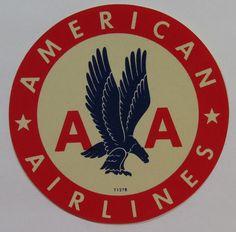 Unused Vintage Luggage Label - American Airlines - Blue Eagle Design