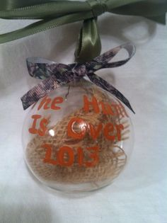 Hand painted Christmas Ornament, Wedding Ornament, The hunt is over ornament