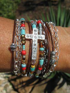 Boho  Indian Summer  Endless Leather Wrap by fleurdesignz on Etsy, $38.00