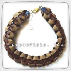 Beautiful woven leather necklace. Bijou Tressé en Cuir in Etoupe, Havanne and Blue de Prusse. Comes with Hermes box and ribbon.