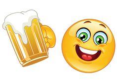 Emoticon with beer vector image on VectorStock Smiley Emoticon, Emoticon Faces, Symbols Emoticons, Emoji Symbols, Emoji Stickers, Funny Emoji, Smile Face, Funny Cartoons, Funny Faces
