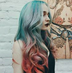 Rainbow hair colors on long layered hair cut with a curly style. Multi color hair look with hair dye colors white/blonde, red/orange, and blue Beautiful Hair Color, Ombre Hair Color, Blue Ombre, Hair Colors, Coloured Hair, Dye My Hair, Balage Hair, Mermaid Hair, Pretty Hairstyles