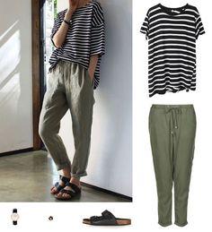 Wear a striped top with khaki pants