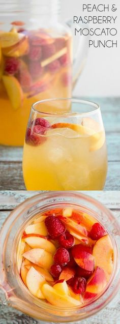 Summer needs delicious drinks! They are meant to be sipped on hot days while sitting poolside with friends and family, and this Peach Raspberry Moscato Punch from Bread Booze Bacon does the trick! Peach Drinks, Peach Sangria Moscato, Peach Alcohol Drinks, Fun Summer Drinks Alcohol, Summer Mixed Drinks, Raspberry Sangria, Alcohol Punch, Raspberry Punch, Sangria Punch