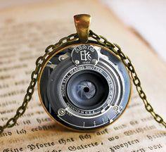 EK Vintage Camera Lens Pendant/Necklace Jewelry, Fine Art Necklace Jewelry, Camera Lens Photo Jewelry Glass Pendant Gift