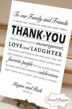 Wedding Reception Thank You Card  Wedding by GrandDesignsbyJoanna, $8.50. -do this on a chalk board instead